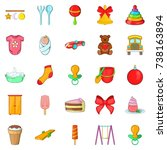 kid icons set. cartoon set of... | Shutterstock . vector #738163894