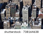 close up on buildings in new... | Shutterstock . vector #738164638