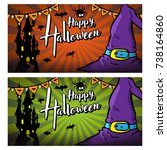 set of halloween greeting card... | Shutterstock .eps vector #738164860