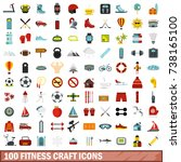 100 fitness craft icons set in... | Shutterstock . vector #738165100