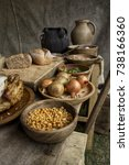 Stock photo anglo saxon food and ingredients set out on a table in a tent 738166360