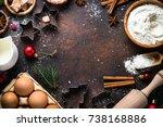 christmas baking background.... | Shutterstock . vector #738168886
