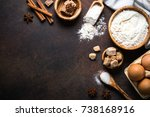 baking background. ingredients... | Shutterstock . vector #738168916