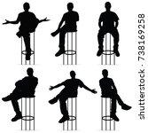 man silhouette sitting on bar... | Shutterstock .eps vector #738169258