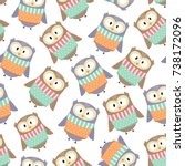 cute owls in the winter clothes ... | Shutterstock .eps vector #738172096