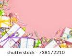 bright decor for birthday ... | Shutterstock . vector #738172210