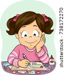 illustration of a kid girl... | Shutterstock .eps vector #738172270