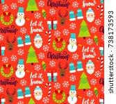 merry christmas seamless...   Shutterstock .eps vector #738173593