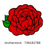 flower rose  red buds and green ... | Shutterstock .eps vector #738182788