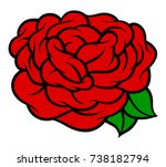 flower rose  red buds and green ... | Shutterstock .eps vector #738182794