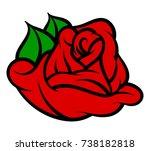 flower rose  red buds and green ... | Shutterstock .eps vector #738182818