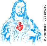 sacred heart of jesus | Shutterstock .eps vector #738184360