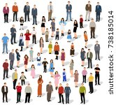 isometric people stand  vector | Shutterstock .eps vector #738185014