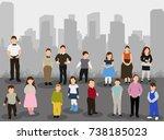 isometric children stand | Shutterstock .eps vector #738185023