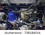 close up new truck diesel... | Shutterstock . vector #738186016