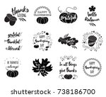 vector set of thanksgiving... | Shutterstock .eps vector #738186700