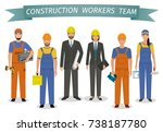 construction workers team.... | Shutterstock . vector #738187780