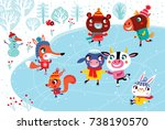 christmas landscape with cute... | Shutterstock .eps vector #738190570