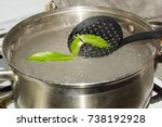 the pot of boiling water  which ... | Shutterstock . vector #738192928