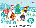 christmas landscape with cute... | Shutterstock .eps vector #738195706
