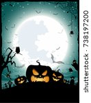 halloween night concept vector... | Shutterstock .eps vector #738197200