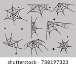 cobweb set spider web halloween ... | Shutterstock .eps vector #738197323
