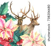 winter composition deer with... | Shutterstock . vector #738206680