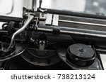 old manual typewriter machine... | Shutterstock . vector #738213124