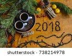 christmas breakfast  christmas...   Shutterstock . vector #738214978