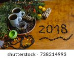 christmas breakfast  christmas... | Shutterstock . vector #738214993
