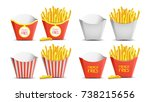 french fries set vector.... | Shutterstock .eps vector #738215656