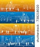 city life illustration set.... | Shutterstock .eps vector #738218020