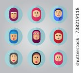 set of 6 veiled woman flat... | Shutterstock .eps vector #738219118