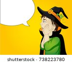 halloween.profile of a very... | Shutterstock .eps vector #738223780