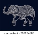 indian elephant. hand drawn... | Shutterstock .eps vector #738226588