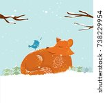 cute cartoon fox in snow. merry ... | Shutterstock .eps vector #738229954
