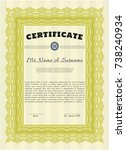 yellow sample certificate or... | Shutterstock .eps vector #738240934