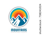 Stock vector mountains vector logo template illustration outdoor adventure creative badge sign graphic 738241024