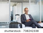 mature businessman using mobile ... | Shutterstock . vector #738242338