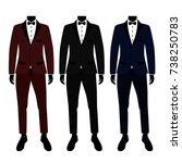 wedding men's suit and tuxedo.... | Shutterstock .eps vector #738250783