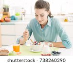 smiling happy woman having a... | Shutterstock . vector #738260290