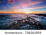 blue hour scene at tips of... | Shutterstock . vector #738261859