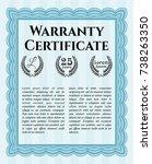 light blue warranty certificate ...   Shutterstock .eps vector #738263350