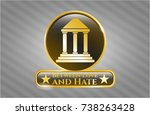gold shiny badge with bank... | Shutterstock .eps vector #738263428
