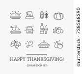 thanksgiving day outline vector ... | Shutterstock .eps vector #738268390