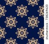golden floral element on dark...   Shutterstock .eps vector #738269620