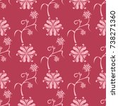 floral ornament on red...   Shutterstock .eps vector #738271360
