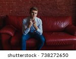 a young man in jeans and shirt... | Shutterstock . vector #738272650