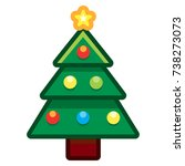 vector cartoon christmas tree... | Shutterstock .eps vector #738273073
