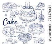doodle set of cake   fruit ... | Shutterstock .eps vector #738276694
